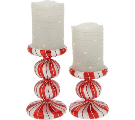 """As Is"" Set of 2 Candy Cane Pedistals With Flameless Candles"