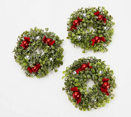 Set Of 3 Glistening Boxwood Mini Rings By Valerie