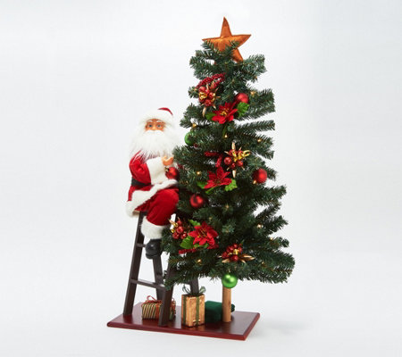 """As Is"" Illuminated 32"" Pine Tree with Decorating Santa Claus"