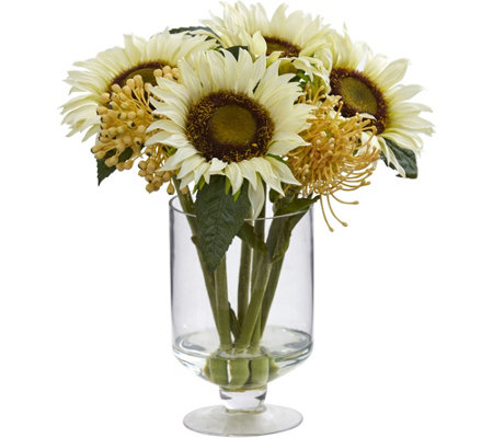 "12"" Sunflower Sedum Arrangement in Vase by Nearly Natural"
