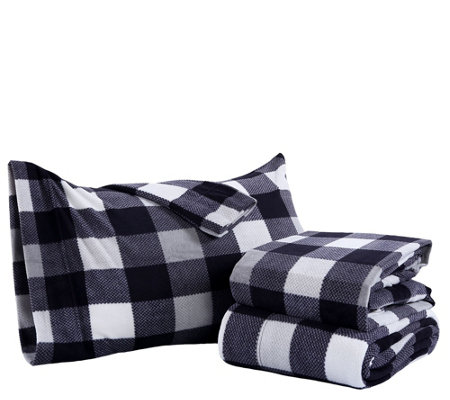 Berkshire Blanket Buffalo Plaid Microfleece King Sheet Set