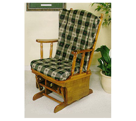 Genial Powell Nostalgic Oak Finish Wingback Glider Rocker