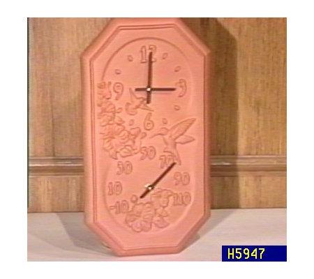 Terracotta Hummingbird Clock U0026 Thermometer