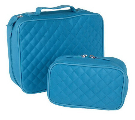 Set Of 2 Quilted Cosmetic Bags By Lori Greiner