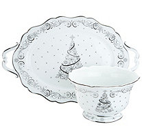 Temp-tations Metallic Christmas Eve or Winter Tray & Bowl Set - H212348