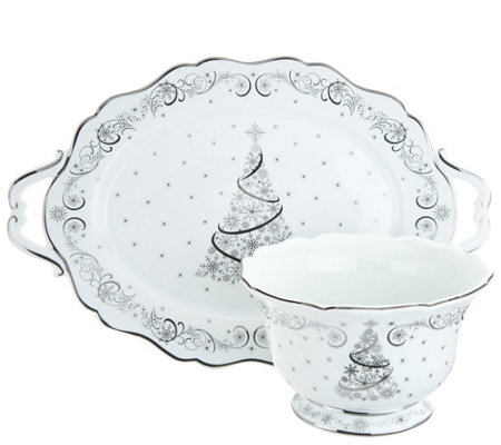 Temp-tations Metallic Christmas Eve or Winter Tray & Bowl Set