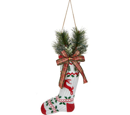 "Plow & Hearth 16"" Vintage Stocking with Lit Holiday Greens"