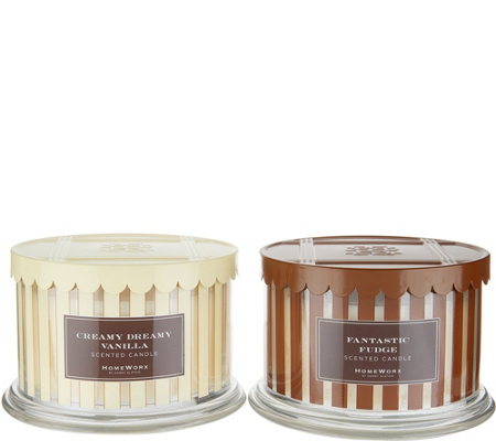 Homeworx by Harry Slatkin Set of 2 3-Wick Ice Cream Candles