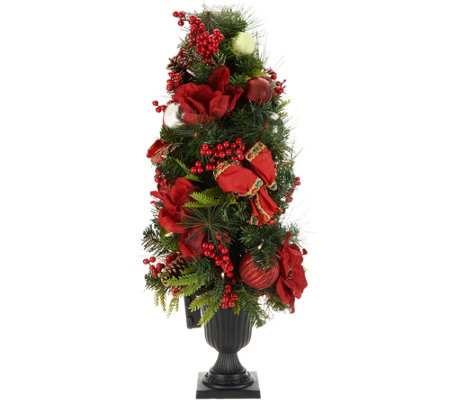 "Indoor/Outdoor Illuminated 36"" Holiday Cheer Urn Tree by Valerie"