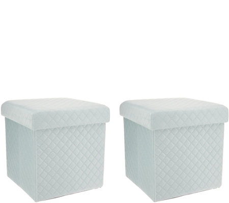 """As Is"" Casa Zeta-Jones Set of 2 Quilted Storage Ottomans"