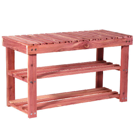 Household Essentials Cedar Shoe Rack with Bench