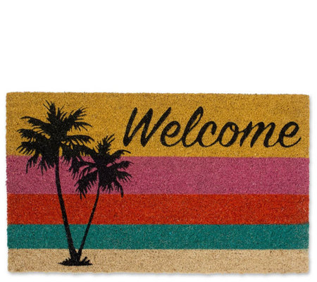Welcome Palm Trees Natural Coir Doormat With Nonslip Back