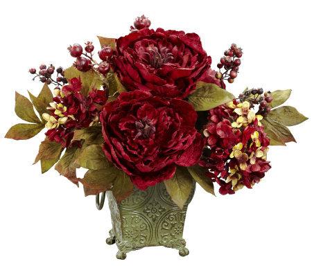 Peony Hydrangea Flower Arrangement By Nearlynatural
