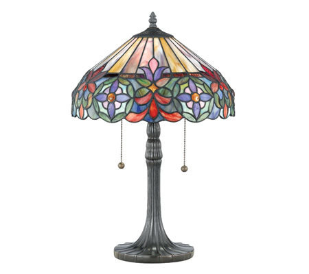 "Tiffany-Style 22"" Genuine Art Glass Table Lamp"