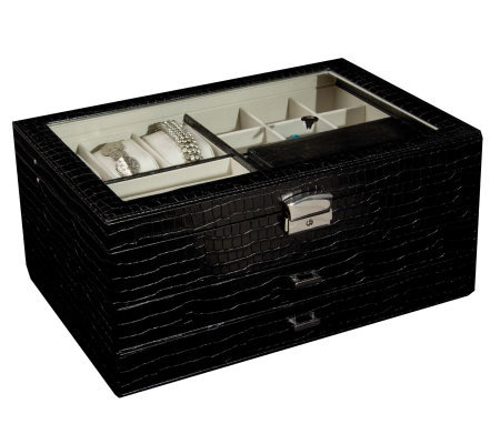 "Mele & Co. ""Alana"" Glass Top Jewelry Box in Black Faux Croco"