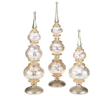 """As Is"" Set of 3 Illuminated Frosted Finials by Valerie"