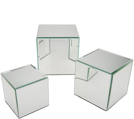Set of 3 Mirrored Accent Boxes by Valerie