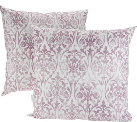 """As Is"" Casa Zeta-Jones Set of 2 Micro Suede Vintage Damask Pillows"