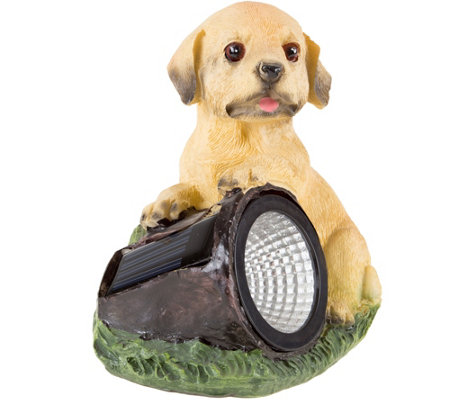 Pure Garden Solar LED Light & Battery-OperatedDog Statue