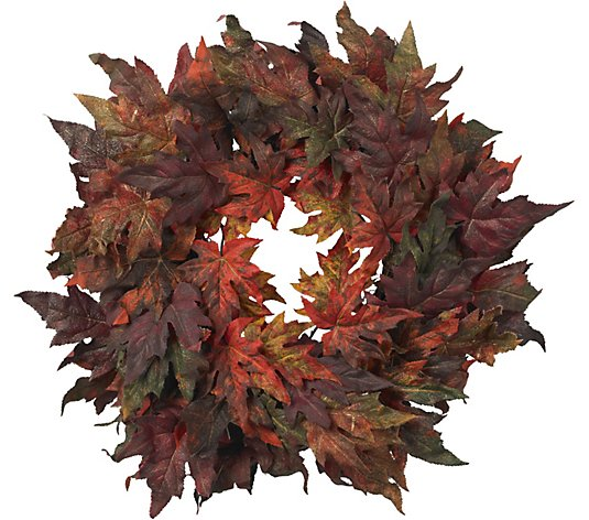 "30"" Maple Leaf Wreath by Nearly Natural"