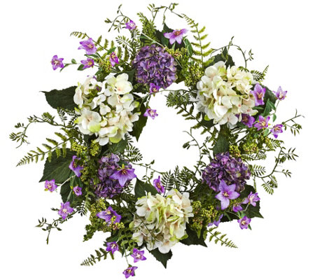 24'' Purple and White Hydrangea Berry Wreath byNearly Natural