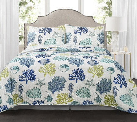 Coastal Reef 3-Piece King Navy/Blue Quilt Set by Lush Decor