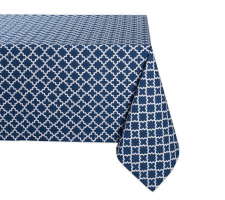 Design Imports Lattice Print Tablecloth 60 X120