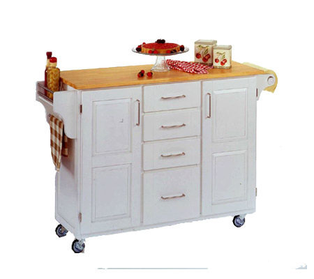 Home Styles Solid Wood Create a Cart - White w/od Top