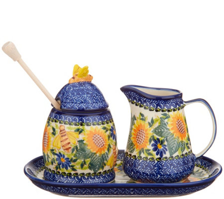 Lidia's Polish Pottery Hand Painted Honey & Creamer Set