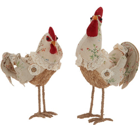 2 Piece Rooster or Chick Decor Figures by Valerie