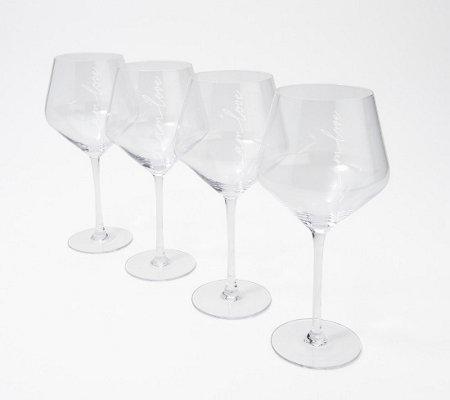Peace Love World Set Of 4 Red Wine Glasses Qvc Com