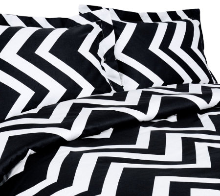 100% Cotton Chevron Print King Duvet Cover andShams Set