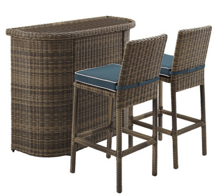 Crosley Bradenton 3-Piece Outdoor Wicker Bar Set