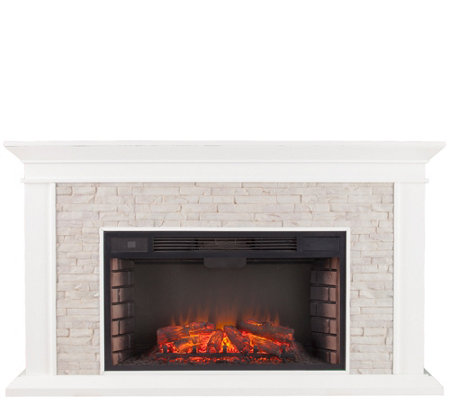 Canyon Heights Faux Stacked Stone Electric Fireplace