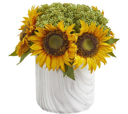 Sunflower Arrangement In Marble Vase By Nearlynatural