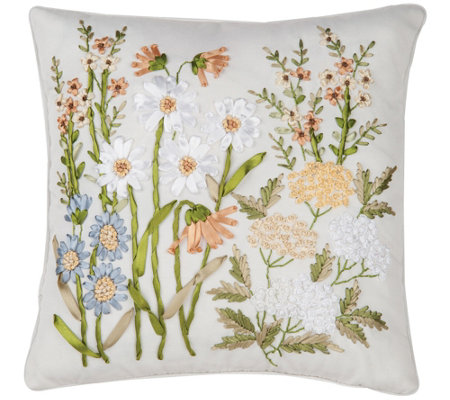 Wildflower Ribbon Art Pillow by Valerie