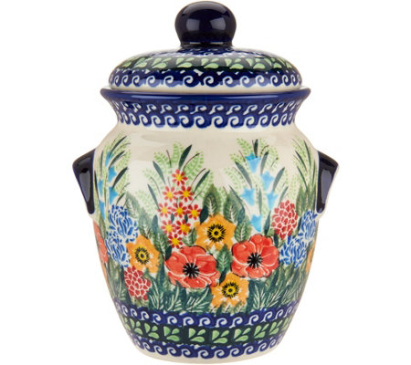 "Lidia's Polish Pottery Hand Painted 7"" Cookie Jar"