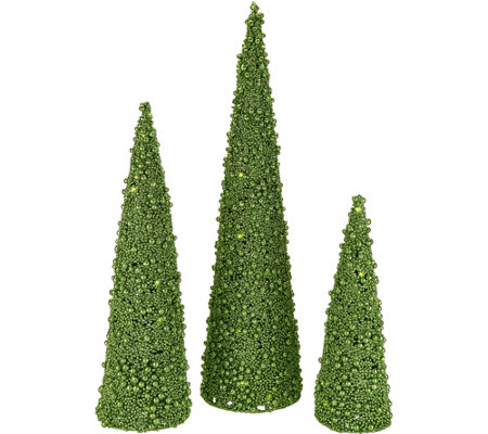 """As Is"" Set of 3 Illuminated Glitter Berry Cone Trees by Valerie"