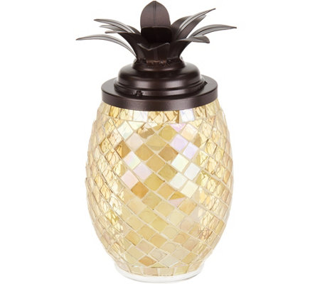 "Lightscapes 11"" Mosaic Pineapple with Flameless Candle"
