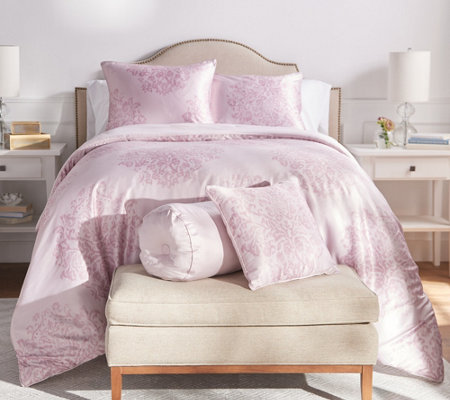 Casa Zeta-Jones Painted Damask Satin King Comforter Set