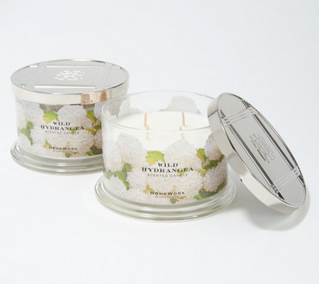 HomeWorx by Harry Slatkin S/2 Wild Hydrangea 4-Wick Candles