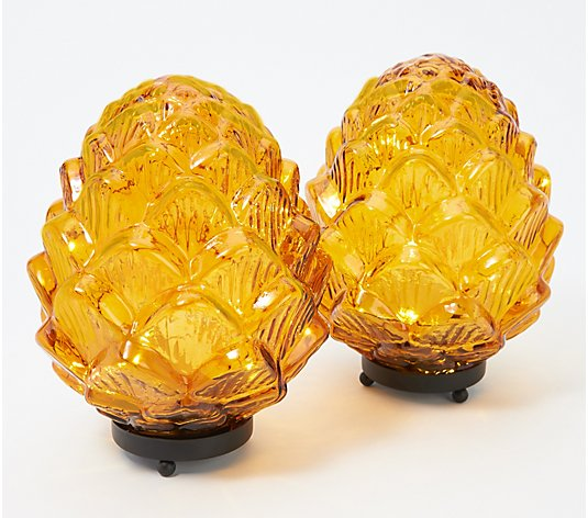 "Set of 2 Illuminated 8"" Glass Pinecones by Valerie"