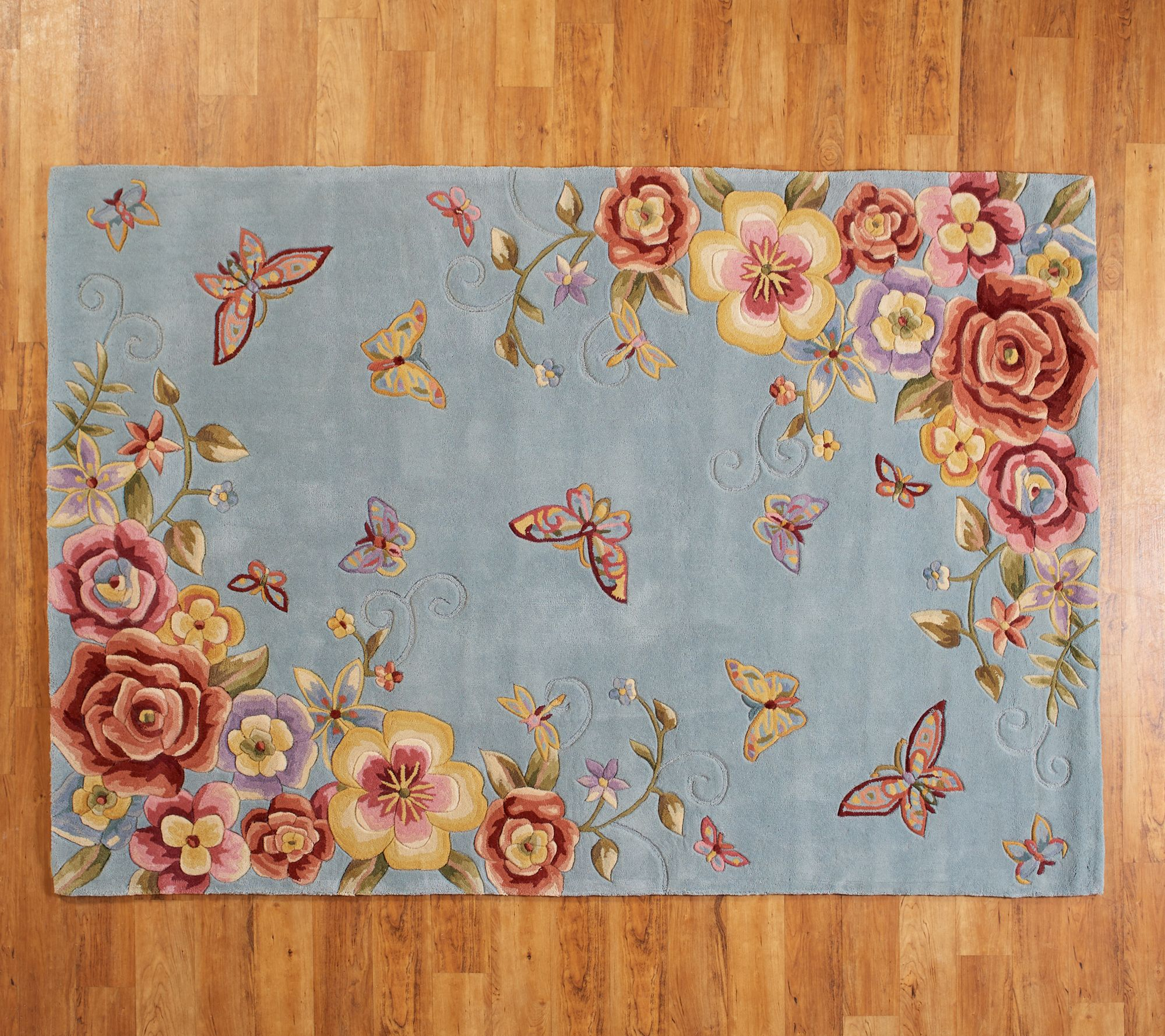 Royal Palace 6 X 9 Butterfly Floral Wool Rug Qvc Com