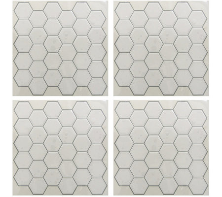RoomMates White Hexagon StickTILES - 4 Pack