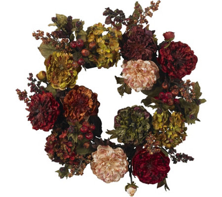 "22"" Autumn Hydrangea Peony Wreath by Nearly Natural"
