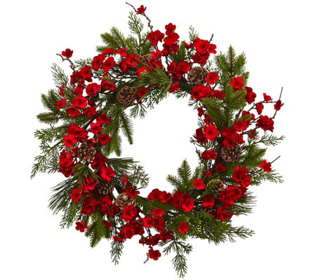"24"" Plum Blossom Pine Wreath by Nearly Natural"