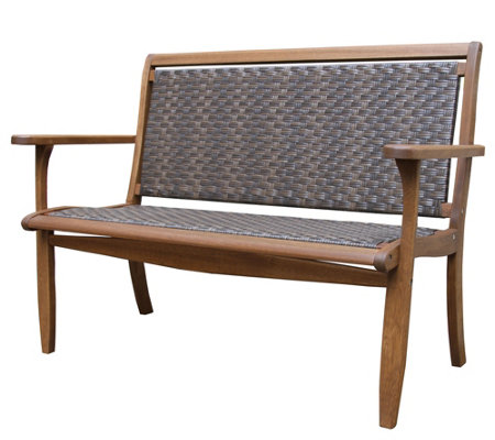 Outdoor Interiors Eucalyptus & Wicker Bench