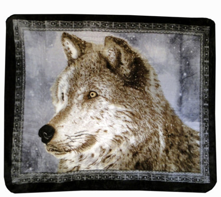 "Shavel Hi Pile 60"" x 80"" Snowy Wolf Luxury Throw"