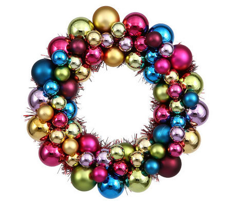 "12"" Colored  Ball Wreath by Vickerman"