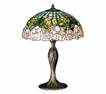 "Tiffany Styled 22""H Cabbage Rose Lamp"